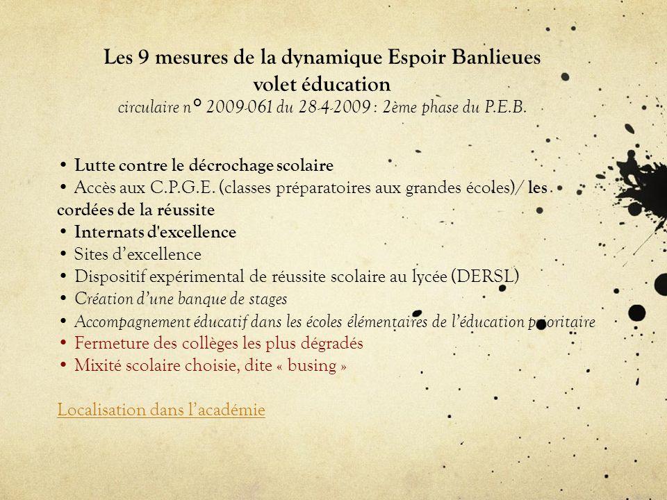Les 9 mesures de la dynamique Espoir Banlieues volet éducation circulaire n° 2009-061 du 28-4-2009 : 2ème phase du P.E.B.