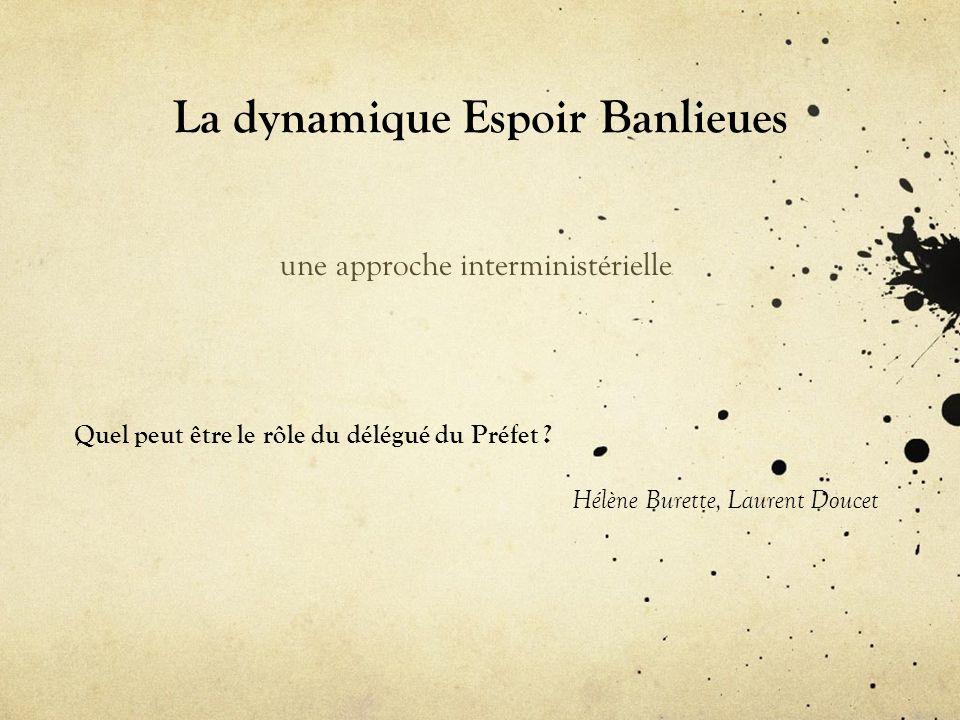 La dynamique Espoir Banlieues une approche interministérielle Quel peut être le rôle du délégué du Préfet .