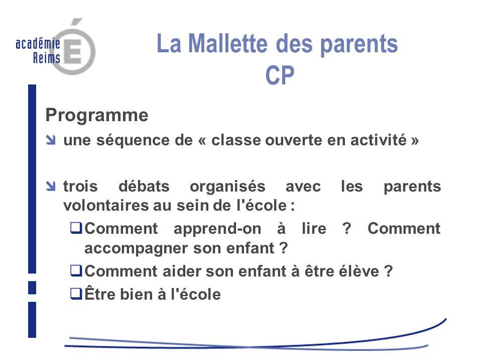 La Mallette des parents CP Programme une séquence de « classe ouverte en activité » trois débats organisés avec les parents volontaires au sein de l'é