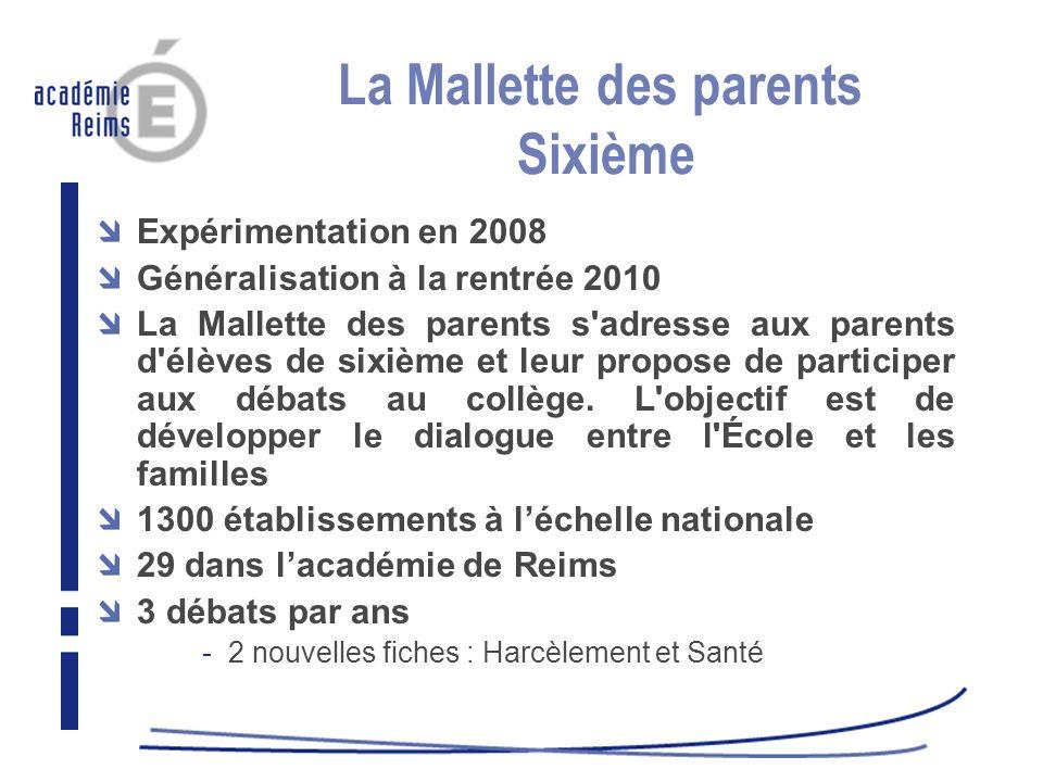 La Mallette des parents Sixième Expérimentation en 2008 Généralisation à la rentrée 2010 La Mallette des parents s'adresse aux parents d'élèves de six