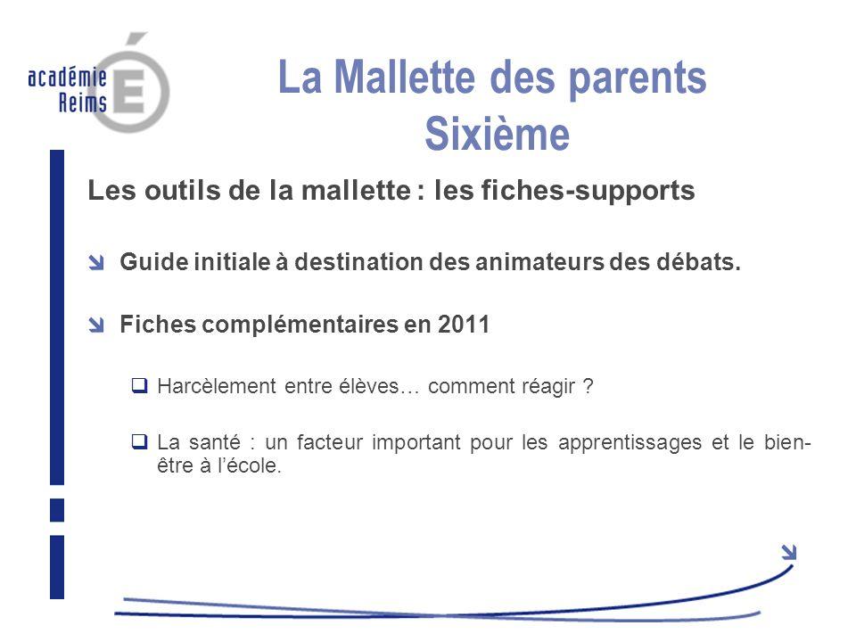 La Mallette des parents Sixième Les outils de la mallette : les fiches-supports Guide initiale à destination des animateurs des débats. Fiches complém