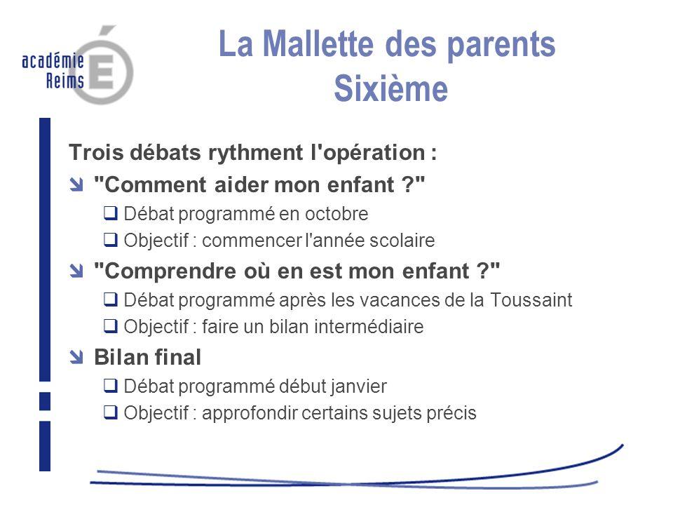 La Mallette des parents Sixième Trois débats rythment l'opération :
