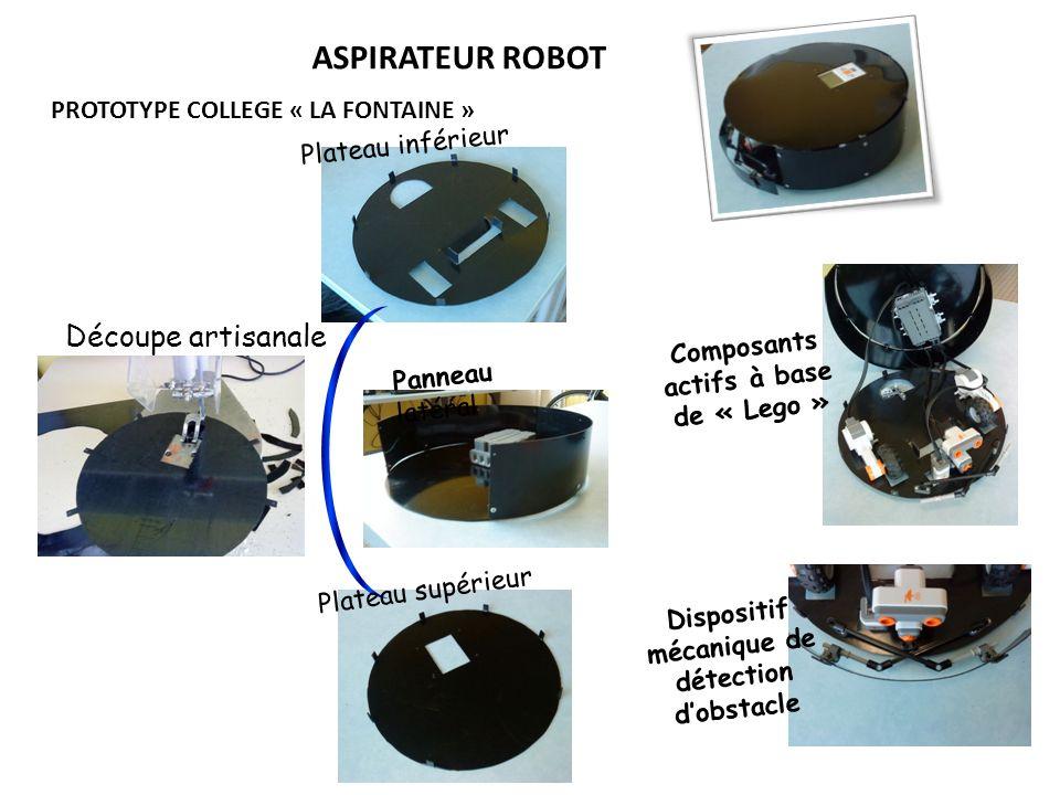 ASPIRATEUR ROBOT PROTOTYPE COLLEGE « LA FONTAINE » Découpe artisanale Plateau inférieur Plateau supérieur Panneau latéral Composants actifs à base de