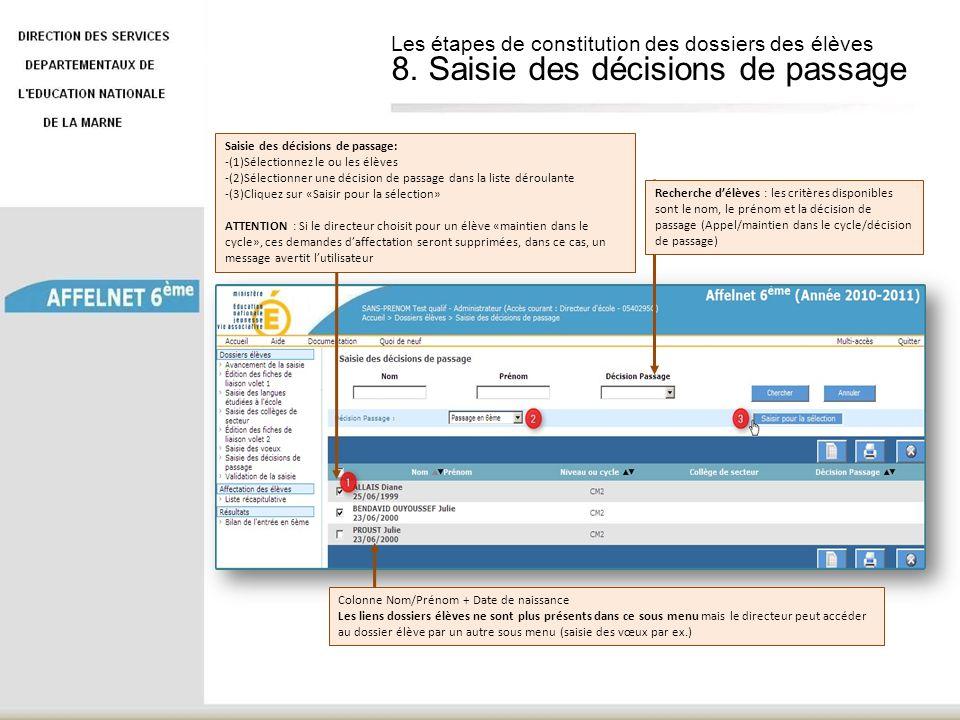 Colonne Nom/Prénom + Date de naissance Les liens dossiers élèves ne sont plus présents dans ce sous menu mais le directeur peut accéder au dossier élè