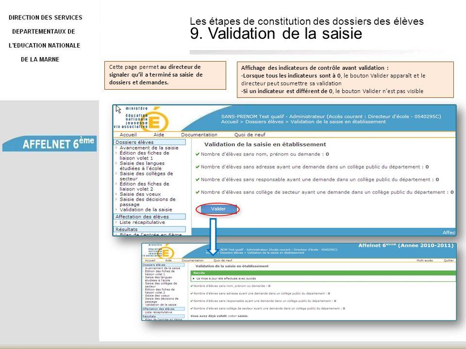 Cette page permet au directeur de signaler quil a terminé sa saisie de dossiers et demandes. Affichage des indicateurs de contrôle avant validation :