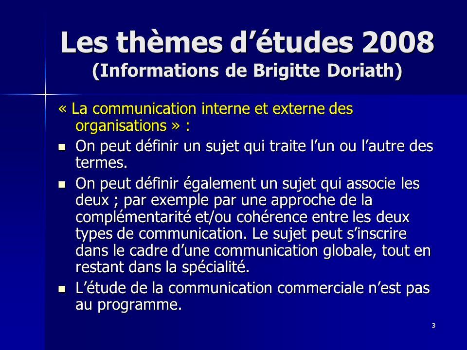 3 Les thèmes détudes 2008 (Informations de Brigitte Doriath) « La communication interne et externe des organisations » : On peut définir un sujet qui
