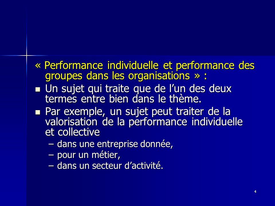 4 « Performance individuelle et performance des groupes dans les organisations » : Un sujet qui traite que de lun des deux termes entre bien dans le t