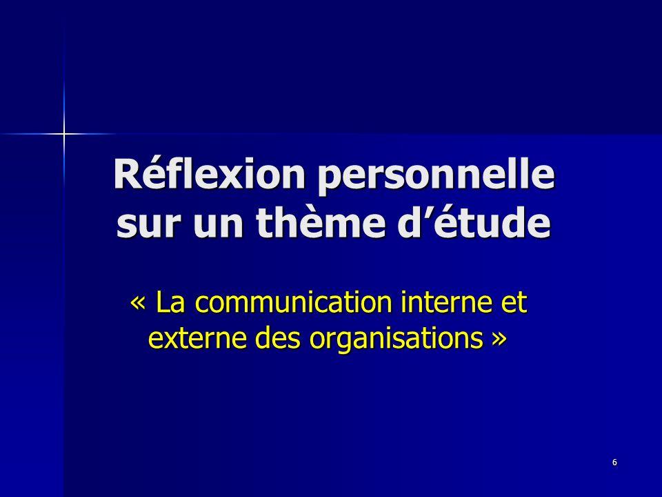7 Exemple de sujets Thème : la communication interne et externe des organisations.