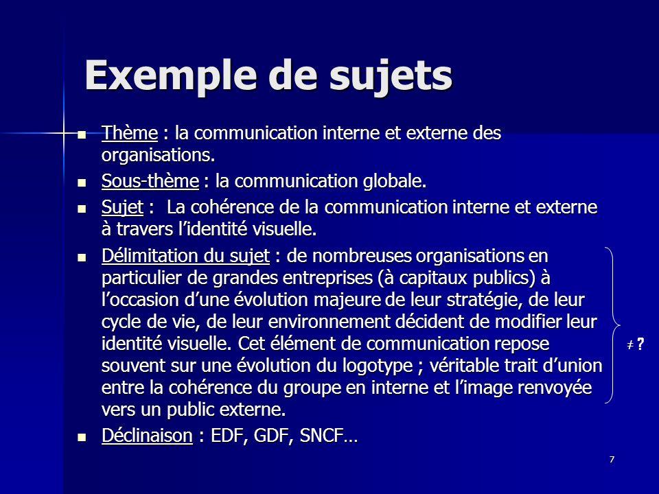 7 Exemple de sujets Thème : la communication interne et externe des organisations. Thème : la communication interne et externe des organisations. Sous