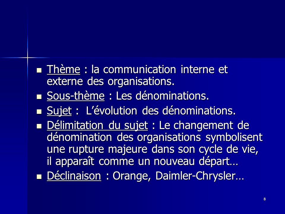 8 Thème : la communication interne et externe des organisations. Thème : la communication interne et externe des organisations. Sous-thème : Les dénom