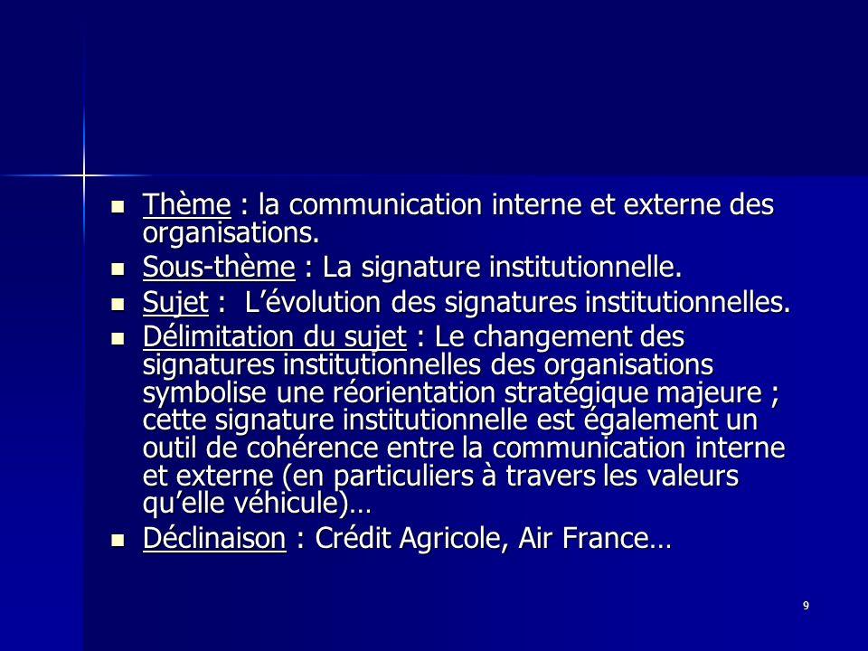 9 Thème : la communication interne et externe des organisations. Thème : la communication interne et externe des organisations. Sous-thème : La signat