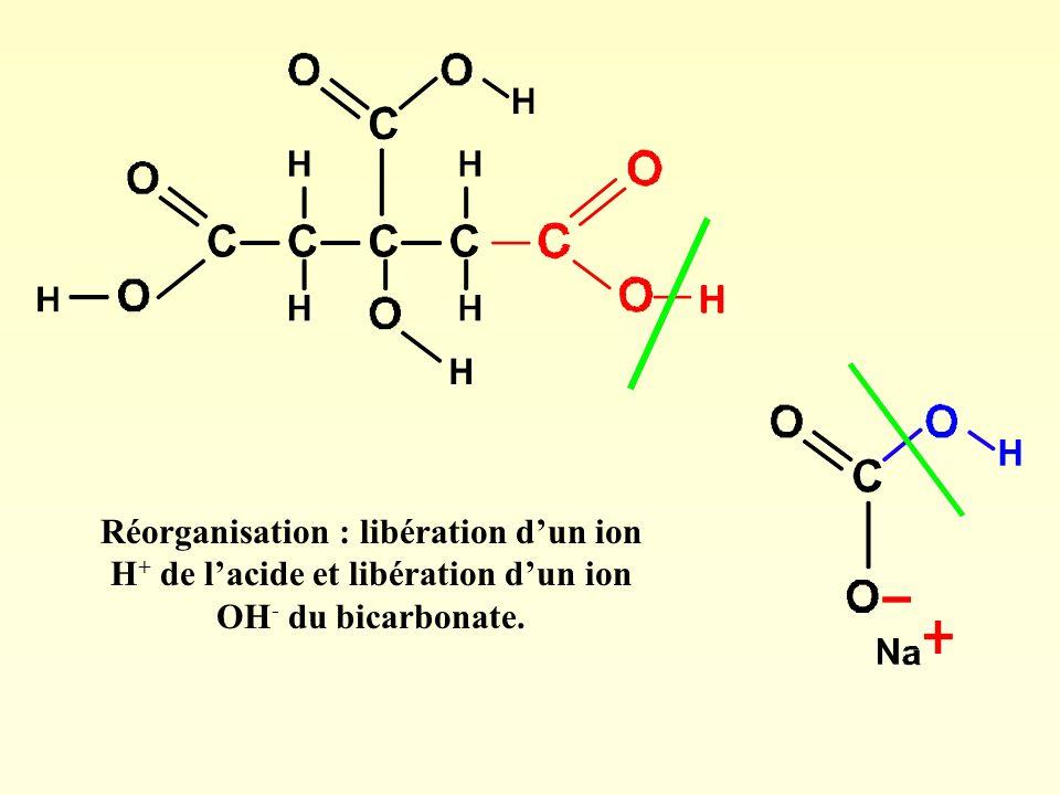 Réorganisation : libération dun ion H + de lacide et libération dun ion OH - du bicarbonate.