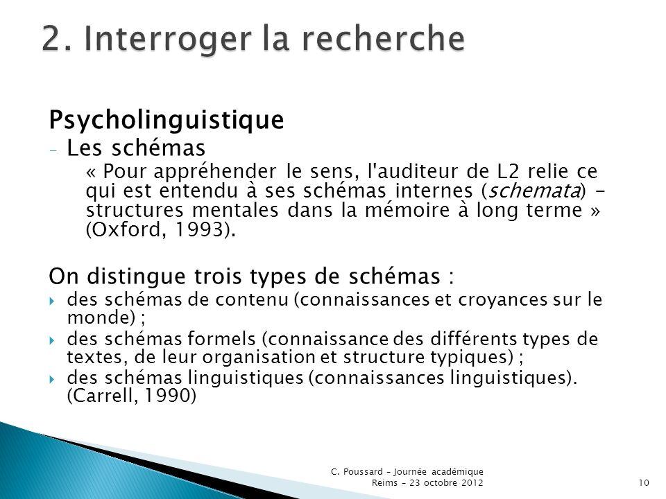 Psycholinguistique - Les schémas « Pour appréhender le sens, l'auditeur de L2 relie ce qui est entendu à ses schémas internes (schemata) - structures