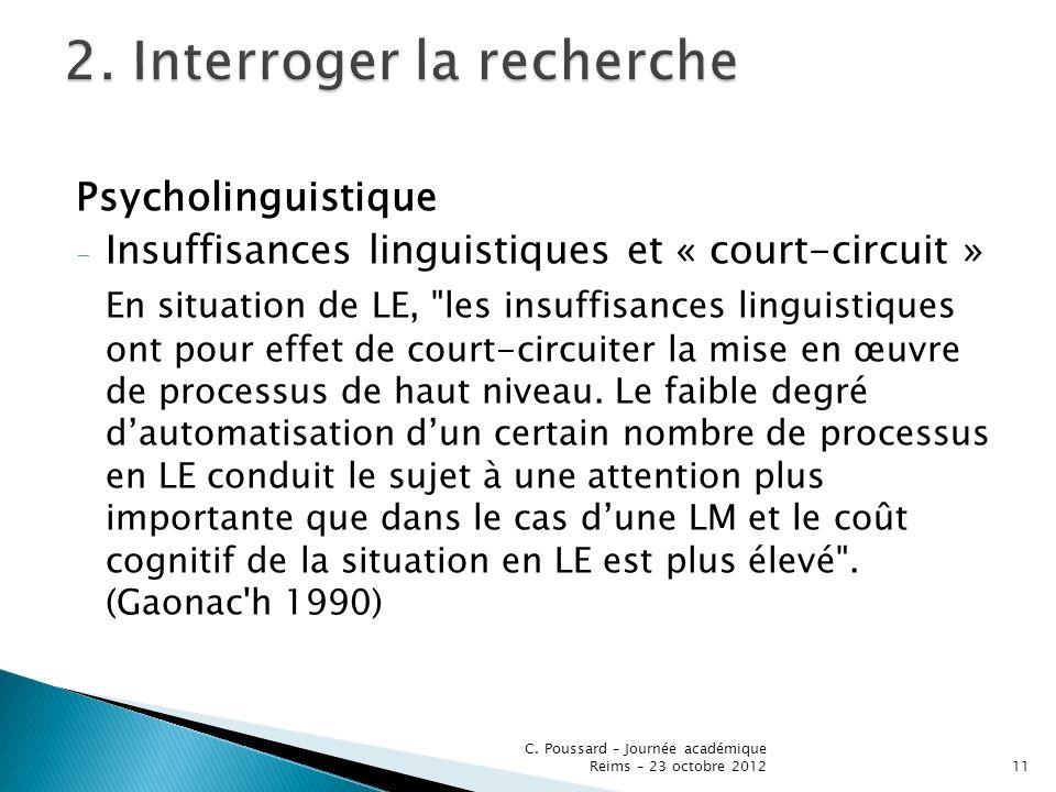 Psycholinguistique - Insuffisances linguistiques et « court-circuit » En situation de LE,