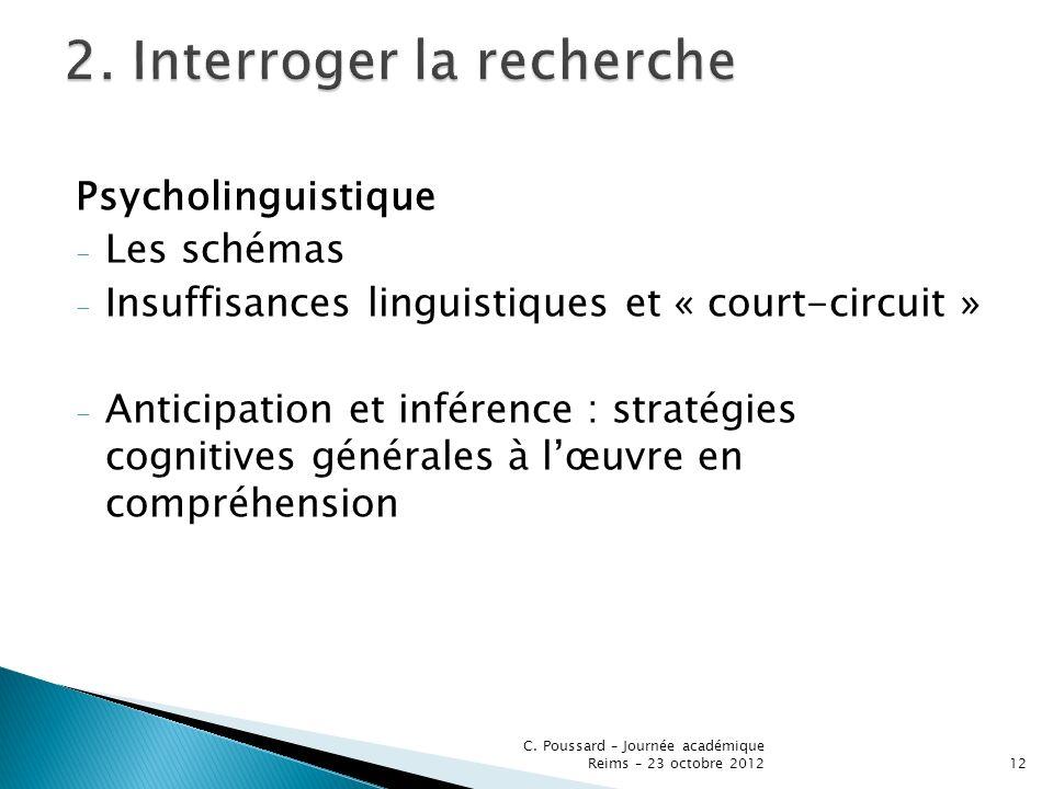 Psycholinguistique - Les schémas - Insuffisances linguistiques et « court-circuit » - Anticipation et inférence : stratégies cognitives générales à lœ