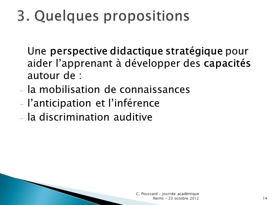 Une perspective didactique stratégique pour aider lapprenant à développer des capacités autour de : - la mobilisation de connaissances - lanticipation