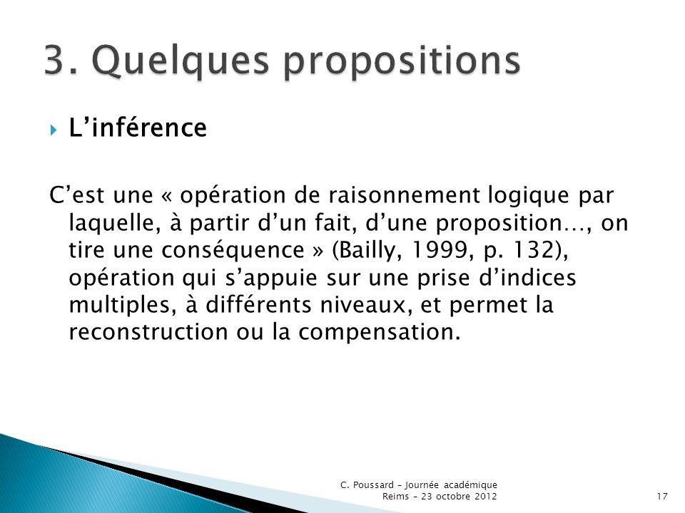 Linférence Cest une « opération de raisonnement logique par laquelle, à partir dun fait, dune proposition…, on tire une conséquence » (Bailly, 1999, p