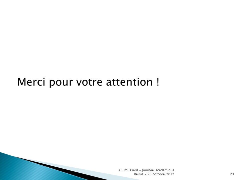 Merci pour votre attention ! C. Poussard – Journée académique Reims – 23 octobre 201223