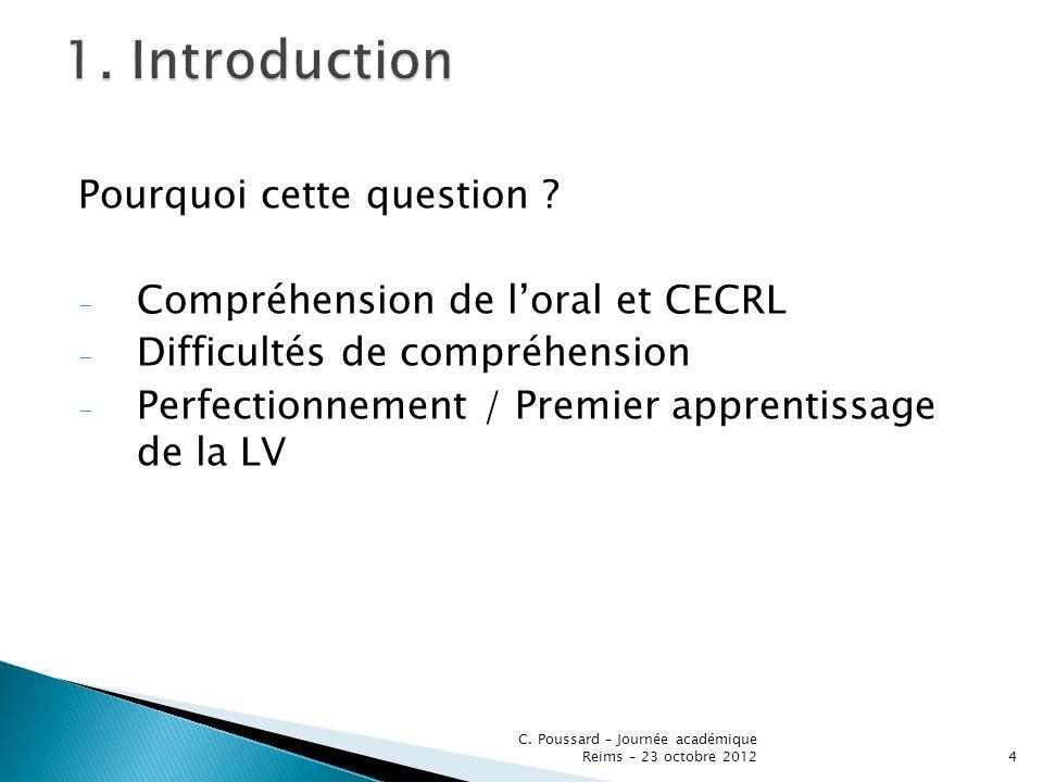 Pourquoi cette question ? - Compréhension de loral et CECRL - Difficultés de compréhension - Perfectionnement / Premier apprentissage de la LV C. Pous