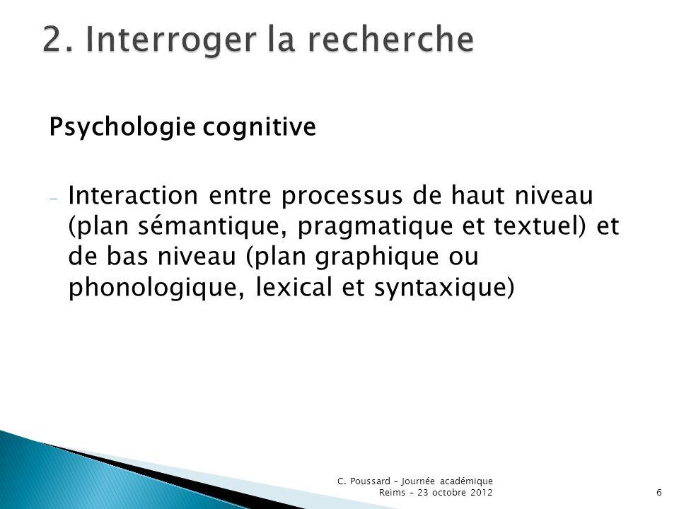 Psychologie cognitive - Interaction entre processus de haut niveau (plan sémantique, pragmatique et textuel) et de bas niveau (plan graphique ou phono