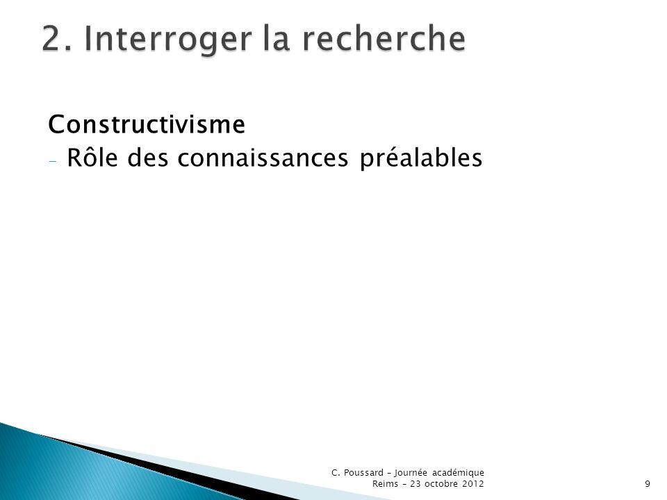 Constructivisme - Rôle des connaissances préalables C. Poussard – Journée académique Reims – 23 octobre 20129