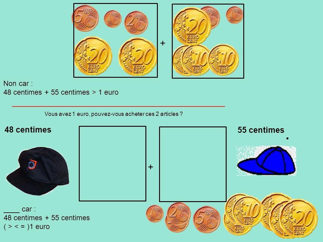 Vous avez 1 euro, pouvez-vous acheter ces 2 articles ? 48 centimes 55 centimes ____ car : 48 centimes + 55 centimes ( > < = )1 euro Non car : 48 centi