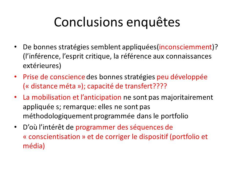 Conclusions enquêtes De bonnes stratégies semblent appliquées(inconsciemment)? (linférence, lesprit critique, la référence aux connaissances extérieur