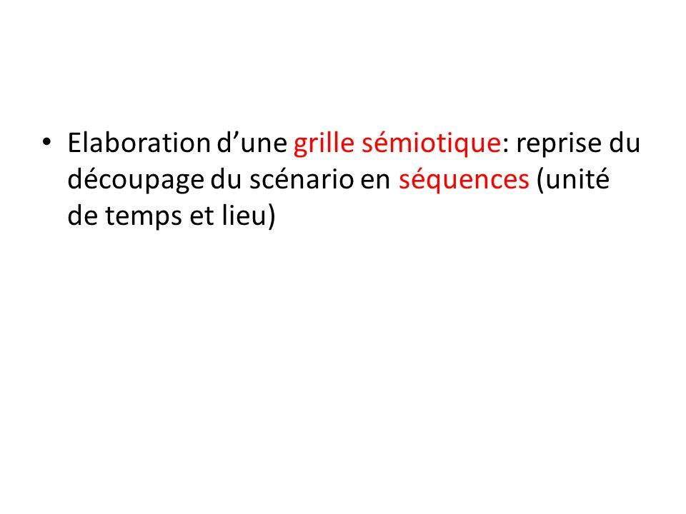 Elaboration dune grille sémiotique: reprise du découpage du scénario en séquences (unité de temps et lieu)