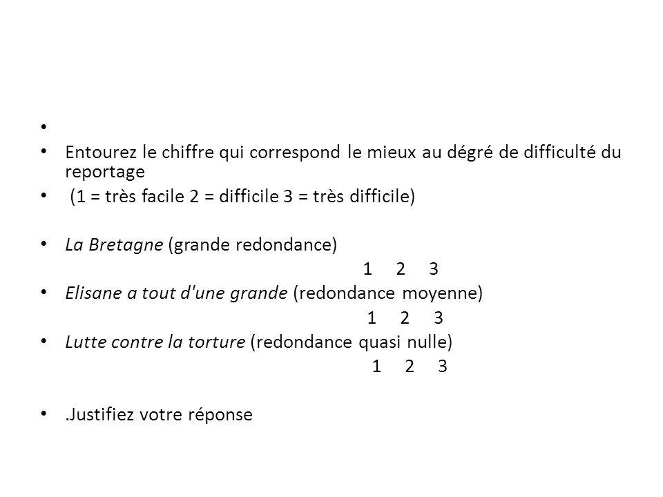 Entourez le chiffre qui correspond le mieux au dégré de difficulté du reportage (1 = très facile 2 = difficile 3 = très difficile) La Bretagne (grande