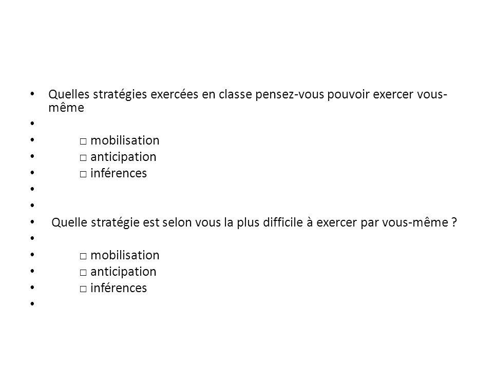 Quelles stratégies exercées en classe pensez-vous pouvoir exercer vous- même mobilisation anticipation inférences Quelle stratégie est selon vous la p