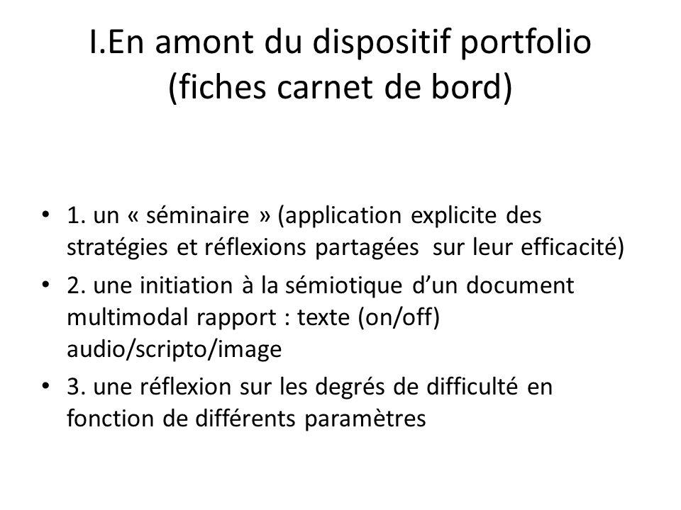 I.En amont du dispositif portfolio (fiches carnet de bord) 1. un « séminaire » (application explicite des stratégies et réflexions partagées sur leur