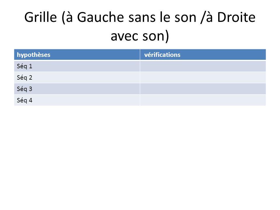Grille (à Gauche sans le son /à Droite avec son) hypothèses vérifications Séq 1 Séq 2 Séq 3 Séq 4