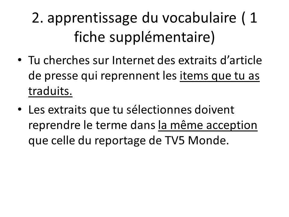 2. apprentissage du vocabulaire ( 1 fiche supplémentaire) Tu cherches sur Internet des extraits darticle de presse qui reprennent les items que tu as