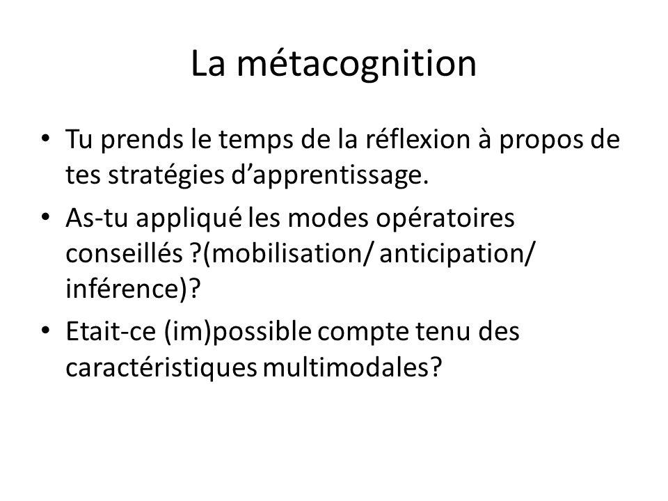 La métacognition Tu prends le temps de la réflexion à propos de tes stratégies dapprentissage. As-tu appliqué les modes opératoires conseillés ?(mobil