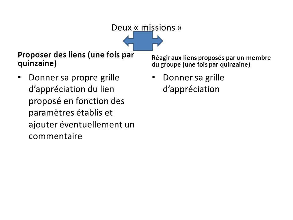 Deux « missions » Proposer des liens (une fois par quinzaine) Donner sa propre grille dappréciation du lien proposé en fonction des paramètres établis