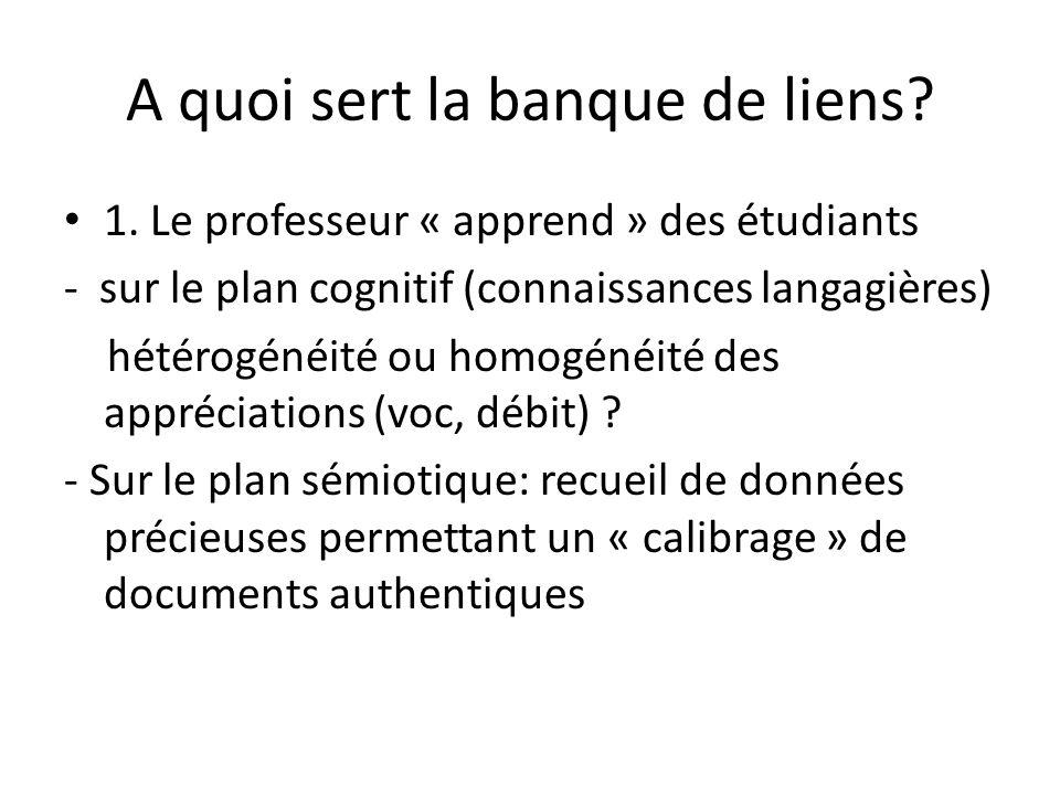A quoi sert la banque de liens? 1. Le professeur « apprend » des étudiants - sur le plan cognitif (connaissances langagières) hétérogénéité ou homogén