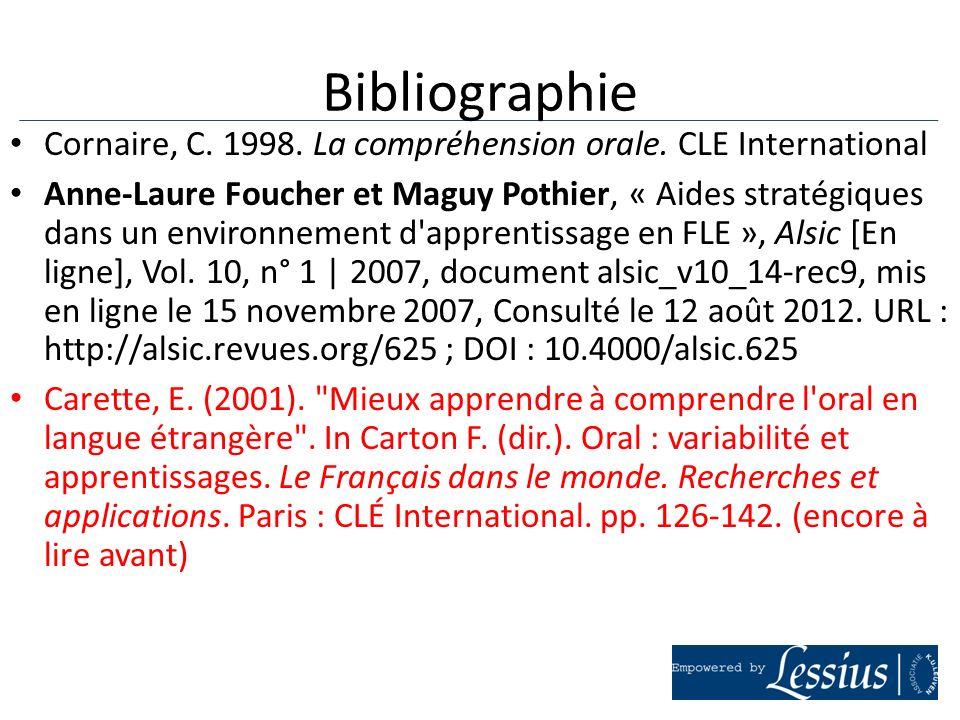 Cornaire, C. 1998. La compréhension orale. CLE International Anne-Laure Foucher et Maguy Pothier, « Aides stratégiques dans un environnement d'apprent