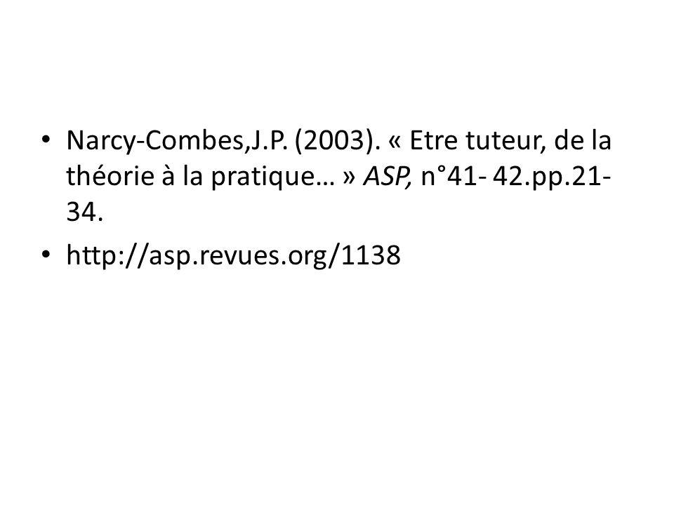Narcy-Combes,J.P. (2003). « Etre tuteur, de la théorie à la pratique… » ASP, n°41- 42.pp.21- 34. http://asp.revues.org/1138