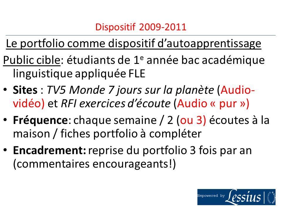 Le portfolio comme dispositif dautoapprentissage Public cible: étudiants de 1 e année bac académique linguistique appliquée FLE Sites : TV5 Monde 7 jo