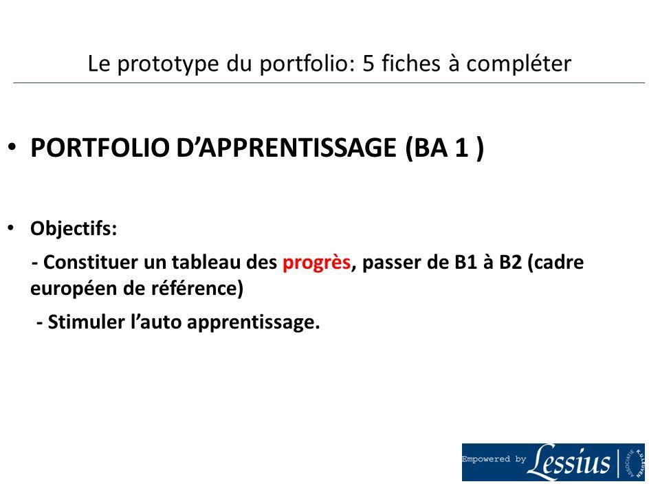PORTFOLIO DAPPRENTISSAGE (BA 1 ) Objectifs: - Constituer un tableau des progrès, passer de B1 à B2 (cadre européen de référence) - Stimuler lauto appr