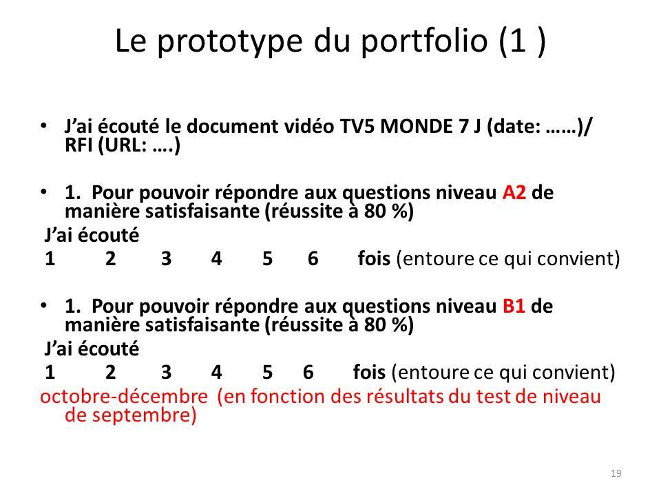 Le prototype du portfolio (1 ) Jai écouté le document vidéo TV5 MONDE 7 J (date: ……)/ RFI (URL: ….) 1. Pour pouvoir répondre aux questions niveau A2 d