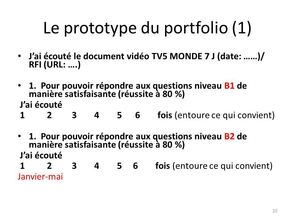 Le prototype du portfolio (1) Jai écouté le document vidéo TV5 MONDE 7 J (date: ……)/ RFI (URL: ….) 1. Pour pouvoir répondre aux questions niveau B1 de