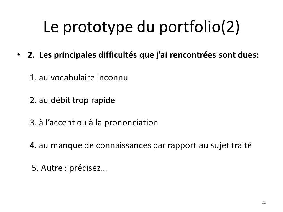 Le prototype du portfolio(2) 2. Les principales difficultés que jai rencontrées sont dues: 1. au vocabulaire inconnu 2. au débit trop rapide 3. à lacc