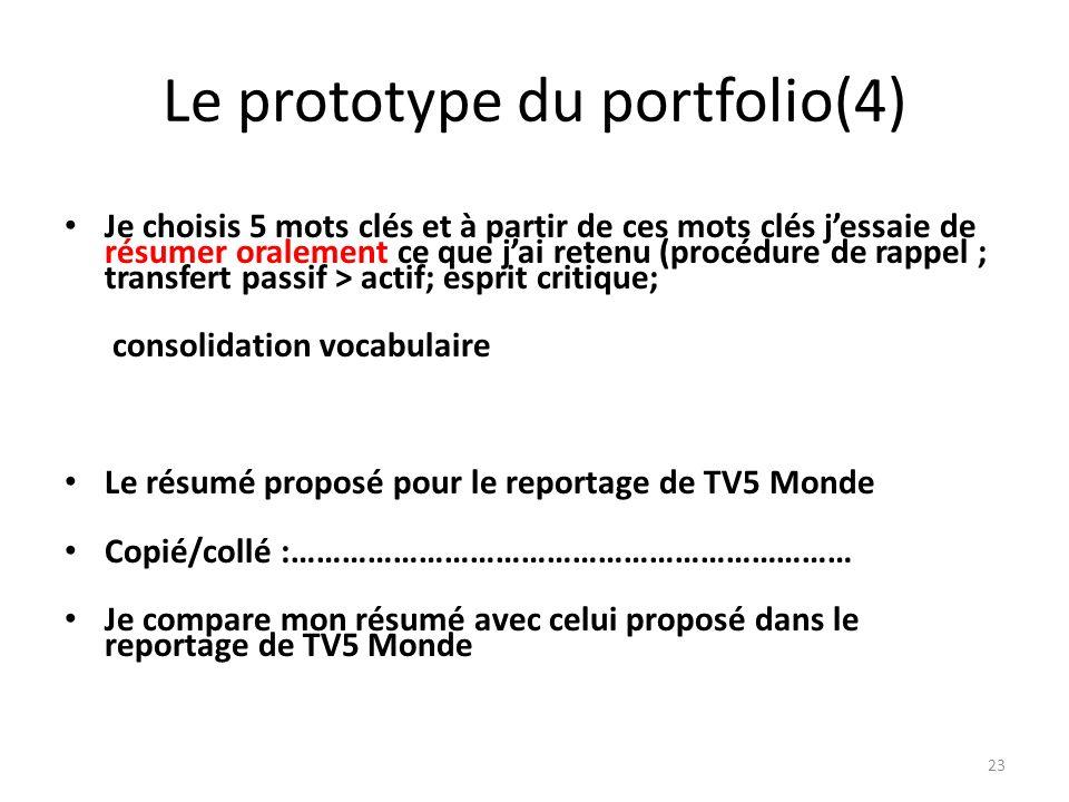 Le prototype du portfolio(4) Je choisis 5 mots clés et à partir de ces mots clés jessaie de résumer oralement ce que jai retenu (procédure de rappel ;