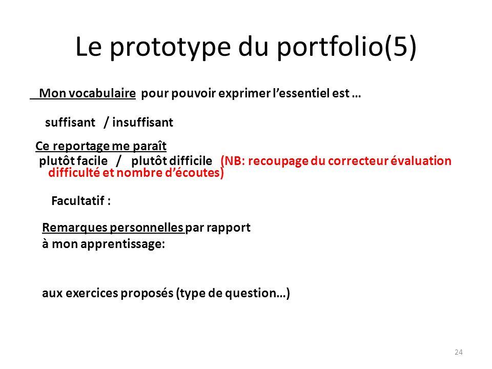 Le prototype du portfolio(5) Mon vocabulaire pour pouvoir exprimer lessentiel est … suffisant / insuffisant Ce reportage me paraît plutôt facile / plu