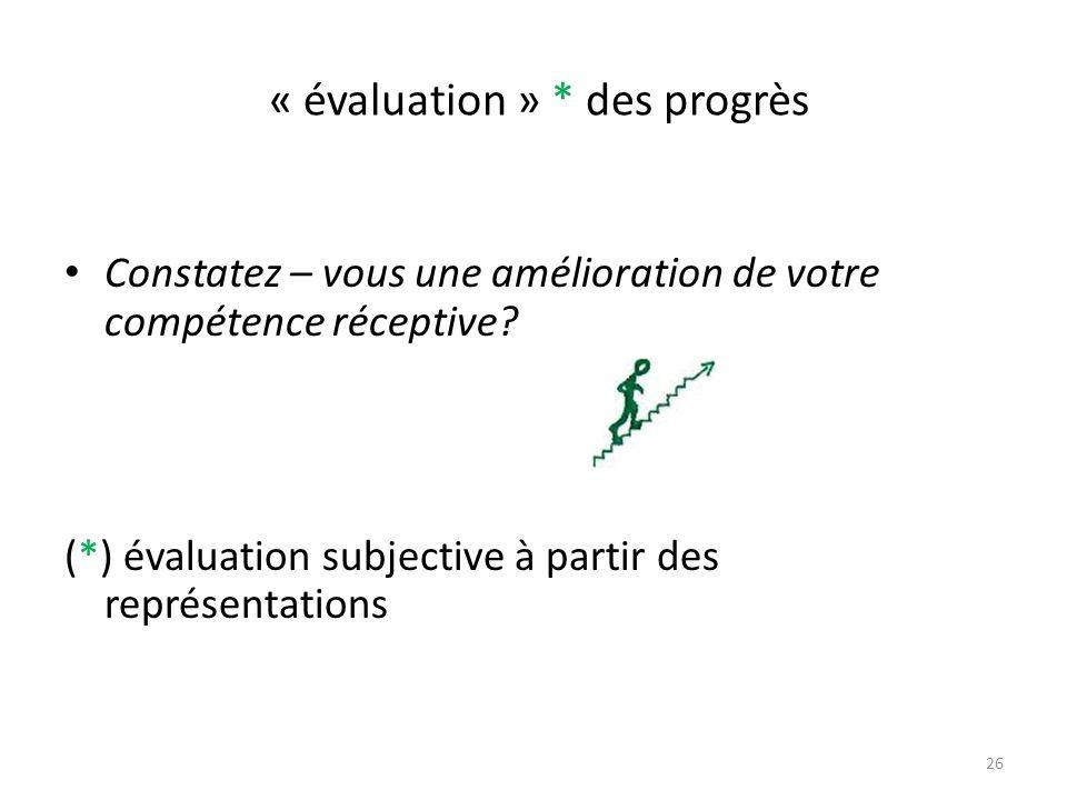 « évaluation » * des progrès Constatez – vous une amélioration de votre compétence réceptive? (*) évaluation subjective à partir des représentations 2