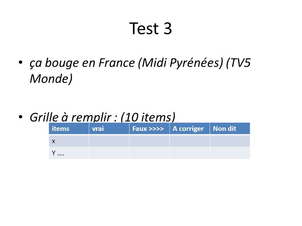 Test 3 ça bouge en France (Midi Pyrénées) (TV5 Monde) Grille à remplir : (10 items) itemsvraiFaux >>>>A corrigerNon dit x Y ….