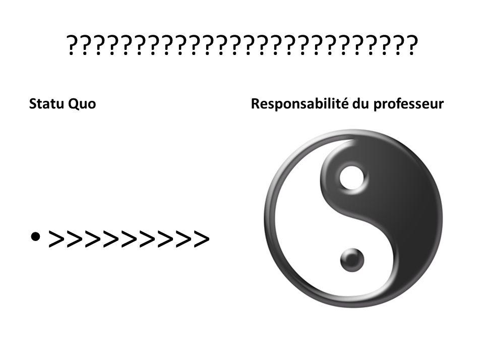 ?????????????????????????? Statu QuoResponsabilité du professeur >>>>>>>>>