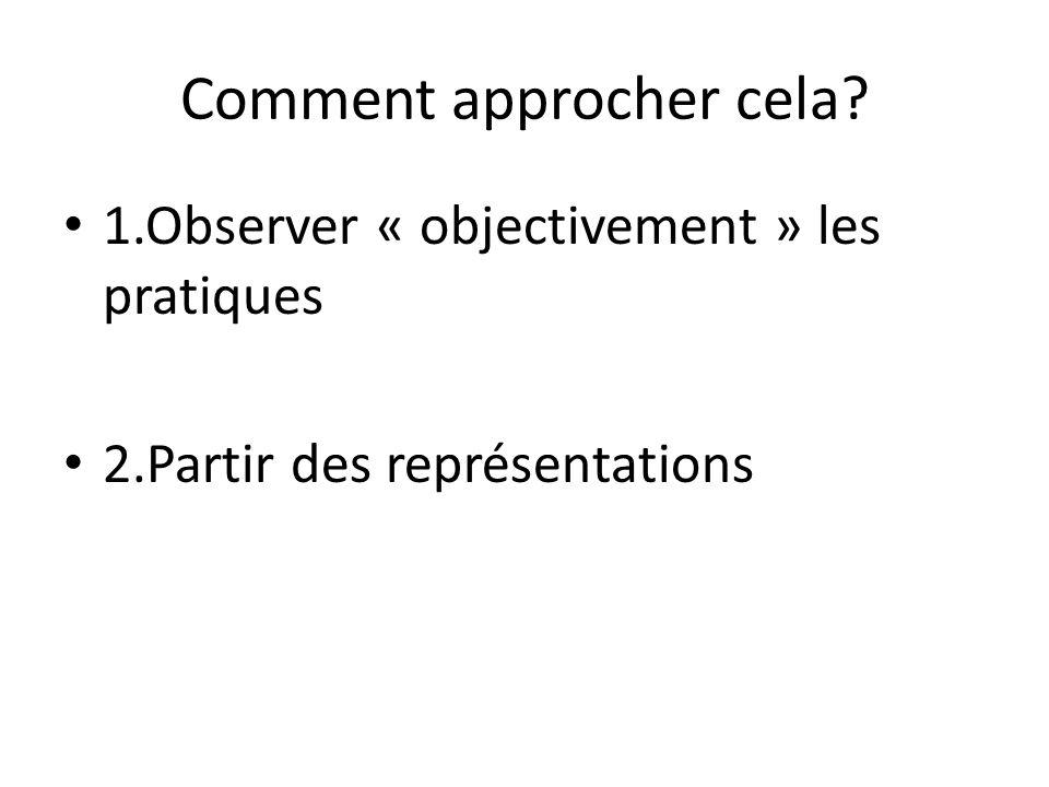Comment approcher cela? 1.Observer « objectivement » les pratiques 2.Partir des représentations