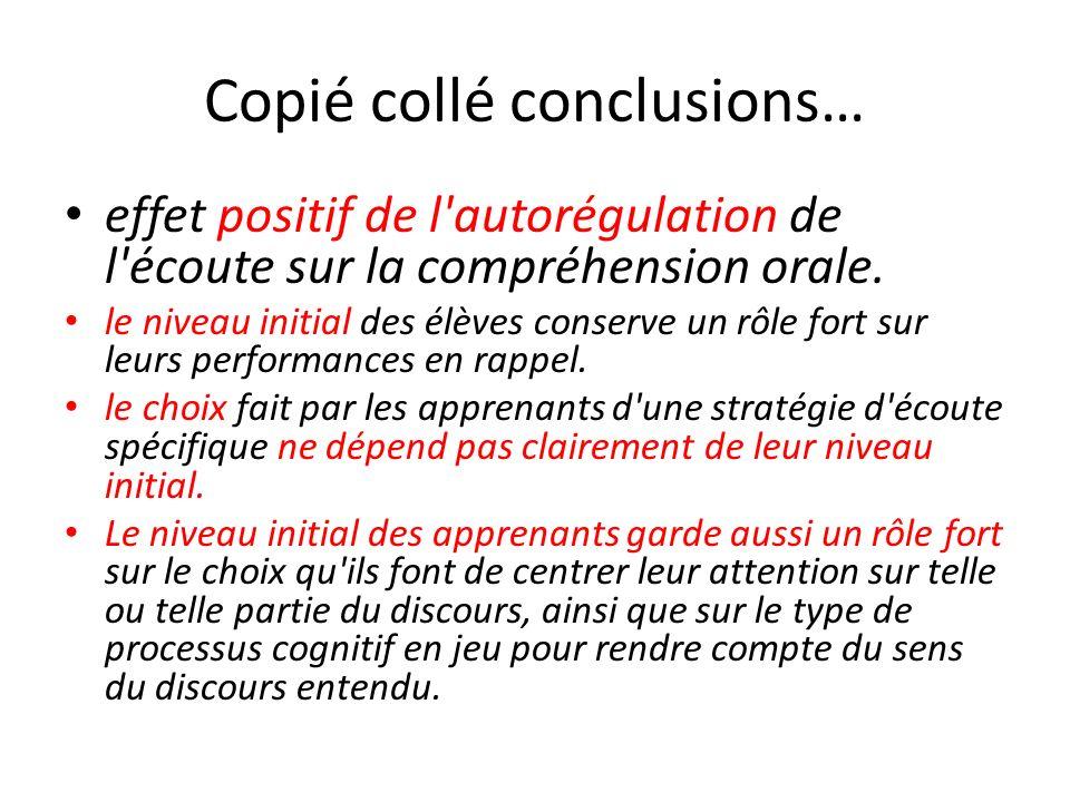 Copié collé conclusions… effet positif de l'autorégulation de l'écoute sur la compréhension orale. le niveau initial des élèves conserve un rôle fort